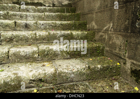 A centuries old weather worn stone stairs - Stock Photo