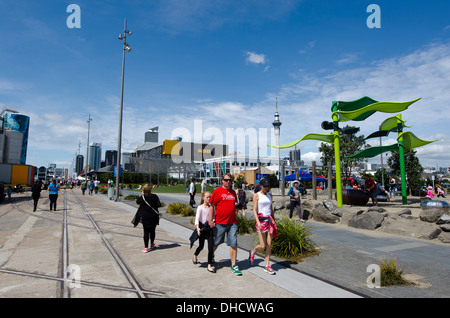 Childrens recreation park at Auckland Viaduct Harbor Basin, Downtown, Auckland, New Zealand - Stock Photo