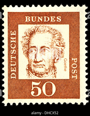 Portrait of Johann Wolfgang von Goethe (1749-1832: German writer and politician) on German postage stamp - Stock Photo