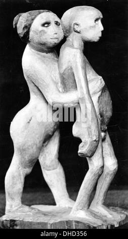 An undated National Socialist propaganda picture shows the statue 'Joseph and Potiphar's Wife' (aka 'Adam and Eve') - Stock Photo