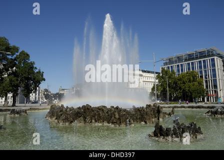 Fountain on Schwarzenberg Square in Vienna - Stock Photo