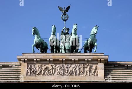Quadriga statue, Brandenburg Gate, Berlin - Stock Photo