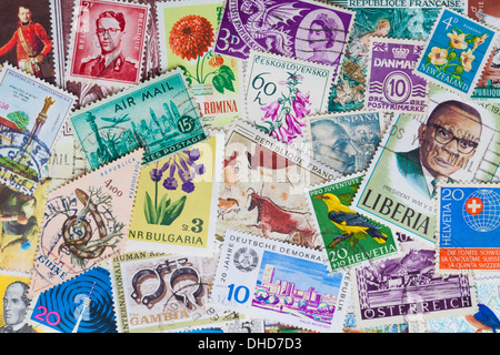 Stamp collection, close-up - Stock Photo