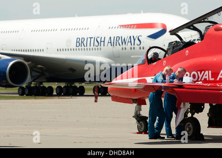 Airbus A380 with British Airways livery on runway with Red Arrows and pilots at Manston Airport, Kent, England, - Stock Photo