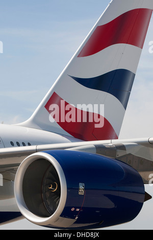 Airbus A380 with British Airways livery on runway at Manston Airport, Kent, England, UK - Stock Photo