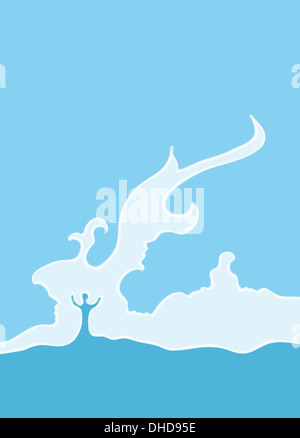 Conceptual illustration of couple facing problems in their relationship - Stock Photo