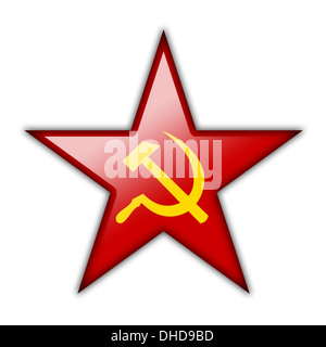 Glossy icon in the shape of the red star - Stock Photo