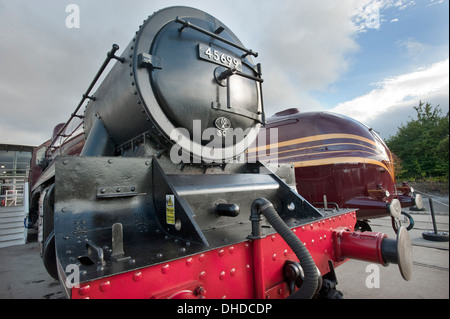 LMS (London Midland Scottish) Julbilee class steam locomotive 45699, 'GALATEA' stands in front of Streamlined LMS - Stock Photo