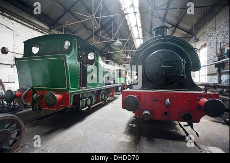 Saddletank steam locomotives rest in the Marley Hill engine shed at the Tanfield Railway, County Durham - Stock Photo