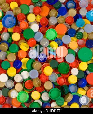 Colorfoul Plastic Bottle Caps Background - Stock Photo