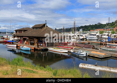 Center for Wooden Boats, Lake Union Park, Seattle, Washington State, United States of America, North America - Stock Photo