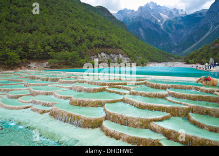 White Water River waterfall at the foot of Jade Dragon Snow Mountain, Lijiang, Yunnan China. - Stock Photo