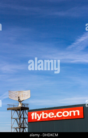 flybe,flybe.com,radar, airport, dish, tower, aerial, off, landing, take, broadcast, white, surveillance, reception, - Stock Photo