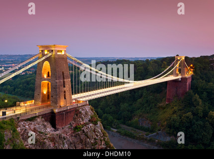 Clifton suspension bridge illuminated at night sunset clifton downs Bristol Avon South West England UK GB EU Europe - Stock Photo