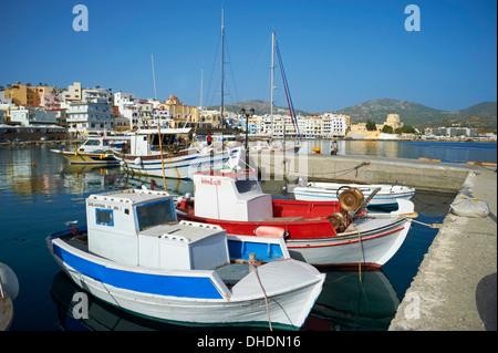 Hora, harbour, Pigadia, Karpathos Island, Dodecanese, Greek Islands, Greece, Europe - Stock Photo