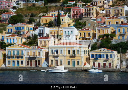 Gialos harbour, Symi island, Dodecanese, Greek Islands, Greece, Europe - Stock Photo