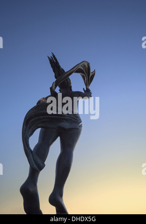 Low Angle View Of The Spirit Of South Shields Statue At Sunset; South Shields, Tyne And Wear, England - Stock Photo