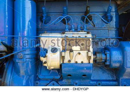 Diesel fuel injectors and injection pump from a 1954 Sift TD4 vintage tractor - Stock Photo