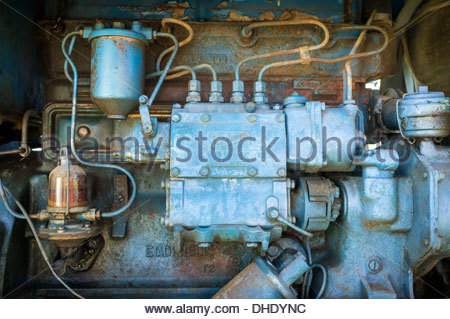 Diesel fuel system (fuel injectors, fuel pump and injection pump) from a Fordson Power Major vintage tractor - Stock Photo