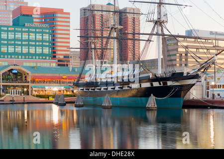 The historic sloop-of-war USS Constellation anchored in the Inner Harbor in Baltimore, Maryland. - Stock Photo