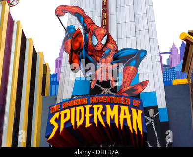Spider-Man ride, Marvel Super Hero Island, Islands of Adventure, Universal Orlando Resort, Orlando, Central Florida, - Stock Photo