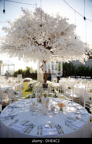 Wedding table decoration reception trees plates eat eating guests party attract attraction detail snow snowy drink - Stock Photo