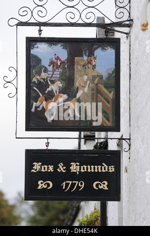Decorative pub sign in the village of Houston in Scotland. - Stock Photo