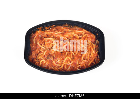 Cooked frozen ready meal tray of spaghetti and meat sauce - Stock Photo