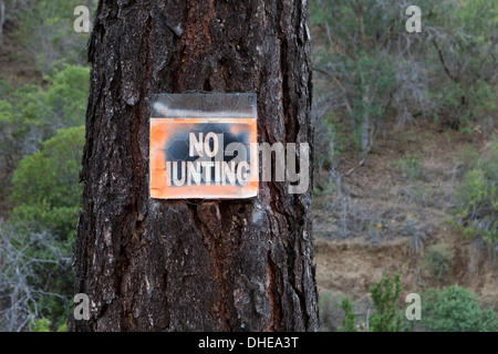 No Hunting sign posted on tree trunk - Stock Photo