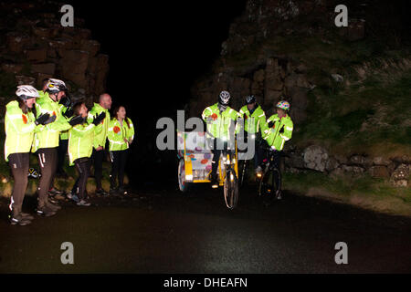 Giants Causeway, Northern Ireland, UK. 8th November 2013. The One Show will be on the road with Team Rickshaw and - Stock Photo