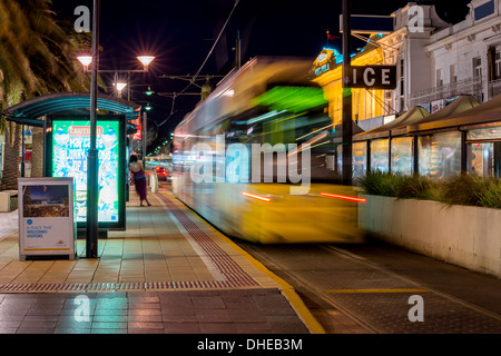 The tram arrives at the Jetty road terminus near Moseley Square, Glenelg, South Australia. - Stock Photo