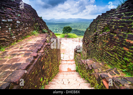 Ruins at the top of Sigiriya Rock Fortress (Lion Rock), UNESCO World Heritage Site, Sri Lanka, Asia - Stock Photo