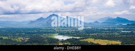 Mountain landscape, taken from the top of Sigiriya Rock Fortress (Lion Rock), Sri Lanka, Asia - Stock Photo