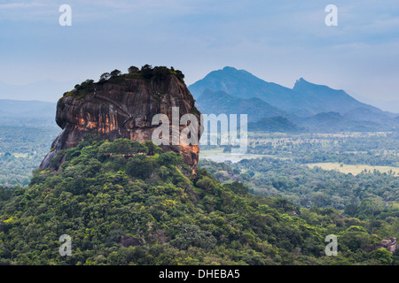Sigiriya Rock Fortress, UNESCO World Heritage Site, seen from Pidurangala Rock, Sri Lanka, Asia - Stock Photo