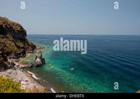 Beach near Malfa on the island of Salina, The Aeolian Islands, UNESCO, off Sicily, Messina Province, Italy, Mediterranean - Stock Photo