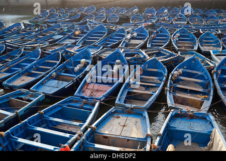 Traditional blue fishing boats in the harbour, Essaouira, Atlantic coast, Morocco, North Africa, Africa - Stock Photo