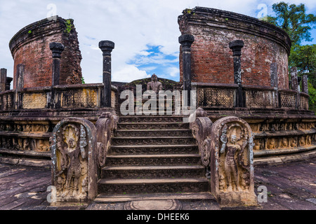 Vatadage (Circular Relic House), Polonnaruwa Quadrangle, UNESCO World Heritage Site, Sri Lanka,Asia - Stock Photo