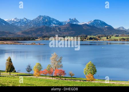 Hopfensee Lake in autumn, near Fussen, Allgau, Allgau Alps, Bavaria, Germany, Europe - Stock Photo