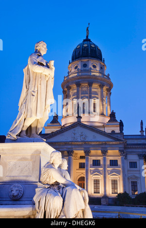 Franzosicher Dom (French Cathedral) and Schiller Monument, Gendarmenmarkt, Mitte, Berlin, Germany, Europe - Stock Photo