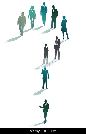 Group of business people forming a question mark - Stock Photo
