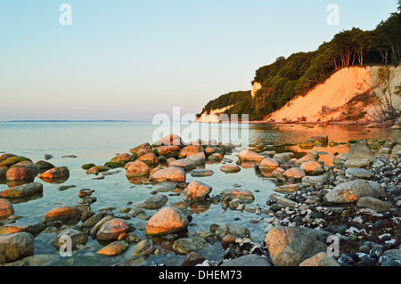 Sunrise at the chalk cliffs, Jasmund National Park, Ruegen Island, Mecklenburg-Vorpommern, Germany, Europe - Stock Photo