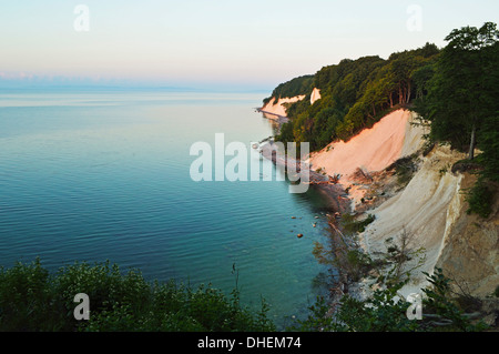 Sunrise at the chalk cliffs, Jasmund National Park, Ruegen Island, Mecklenburg-Vorpommern, Germany, Europe - Stock Photo