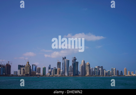 Futuristic skyscrapers downtown in Doha, Qatar, Middle East - Stock Photo