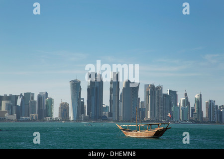 Futuristic skyscrapers in Doha, Qatar, Middle East - Stock Photo