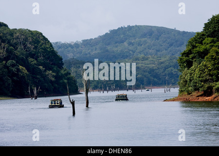 Boating, Periyar Tiger Reserve, Thekkady, Kerala, India, Asia - Stock Photo