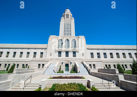 Nebraska State Capitol, Lincoln, Nebraska, United States of America, North America - Stock Photo