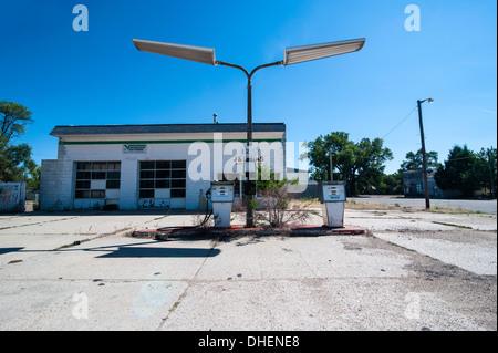 Abandonend petrol station along Route two through Nebraska, United States of America, North America - Stock Photo