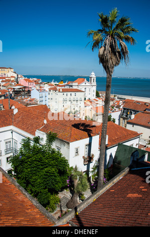 View from Portas do Sol over the old quarter of Alfama, Lisbon, Portugal, Europe - Stock Photo