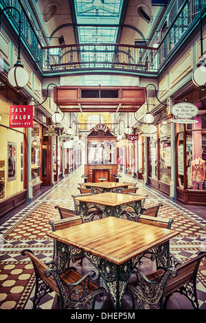The wonderful character of the Adelaide Arcade shopping mall in Adelaide, Australia. - Stock Photo