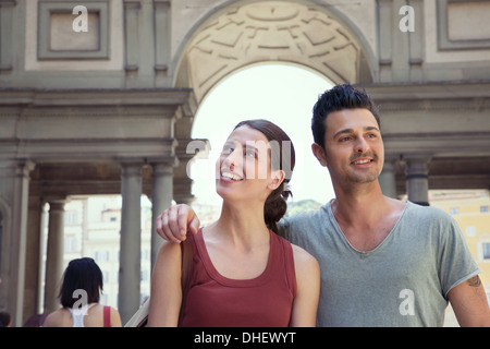 Couple visiting Uffizi Gallery, Florence, Tuscany, Italy - Stock Photo